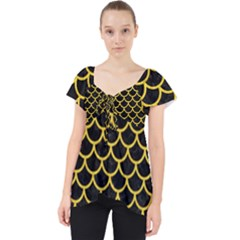 Scales1 Black Marble & Yellow Colored Pencil (r) Lace Front Dolly Top