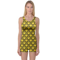 Scales2 Black Marble & Yellow Colored Pencil One Piece Boyleg Swimsuit