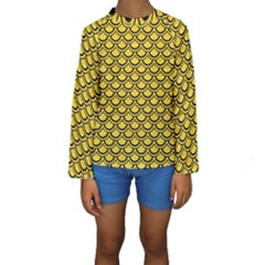 Scales2 Black Marble & Yellow Colored Pencil Kids  Long Sleeve Swimwear