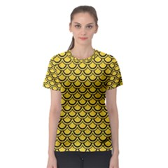 Scales2 Black Marble & Yellow Colored Pencil Women s Sport Mesh Tee