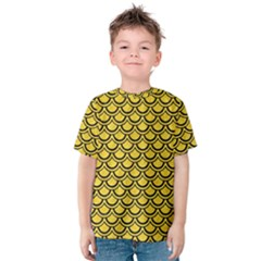 Scales2 Black Marble & Yellow Colored Pencil Kids  Cotton Tee