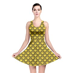 Scales2 Black Marble & Yellow Colored Pencil Reversible Skater Dress