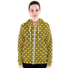 Scales2 Black Marble & Yellow Colored Pencil Women s Zipper Hoodie