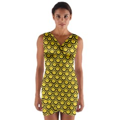 Scales2 Black Marble & Yellow Colored Pencil Wrap Front Bodycon Dress