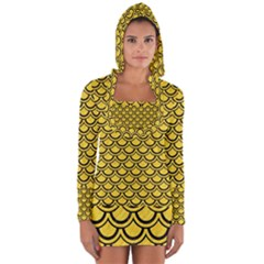 Scales2 Black Marble & Yellow Colored Pencil Long Sleeve Hooded T Shirt