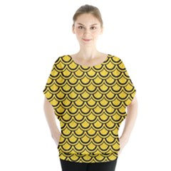 Scales2 Black Marble & Yellow Colored Pencil Blouse