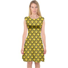 Scales2 Black Marble & Yellow Colored Pencil Capsleeve Midi Dress