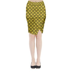 Scales2 Black Marble & Yellow Colored Pencil Midi Wrap Pencil Skirt