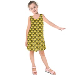 Scales2 Black Marble & Yellow Colored Pencil Kids  Sleeveless Dress