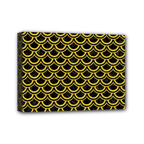 Scales2 Black Marble & Yellow Colored Pencil (r) Mini Canvas 7  X 5