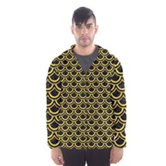 Scales2 Black Marble & Yellow Colored Pencil (r) Hooded Wind Breaker (men)