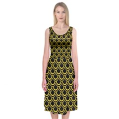 Scales2 Black Marble & Yellow Colored Pencil (r) Midi Sleeveless Dress