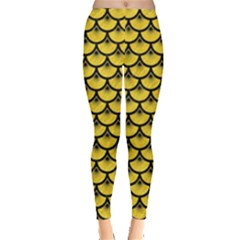 Scales3 Black Marble & Yellow Colored Pencil Leggings