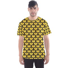 Scales3 Black Marble & Yellow Colored Pencil Men s Sports Mesh Tee