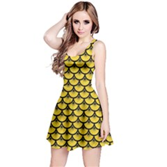 Scales3 Black Marble & Yellow Colored Pencil Reversible Sleeveless Dress