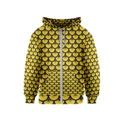 Scales3 Black Marble & Yellow Colored Pencil Kids  Zipper Hoodie