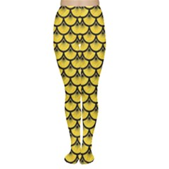 Scales3 Black Marble & Yellow Colored Pencil Women s Tights