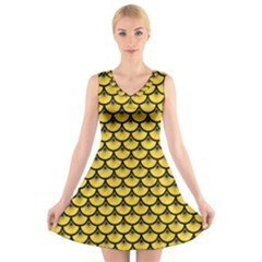 Scales3 Black Marble & Yellow Colored Pencil V Neck Sleeveless Skater Dress