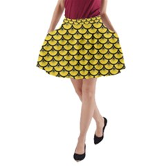 Scales3 Black Marble & Yellow Colored Pencil A Line Pocket Skirt