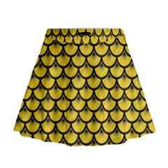 Scales3 Black Marble & Yellow Colored Pencil Mini Flare Skirt