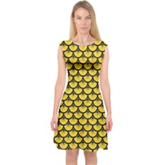 Scales3 Black Marble & Yellow Colored Pencil Capsleeve Midi Dress
