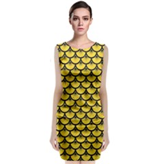 Scales3 Black Marble & Yellow Colored Pencil Sleeveless Velvet Midi Dress