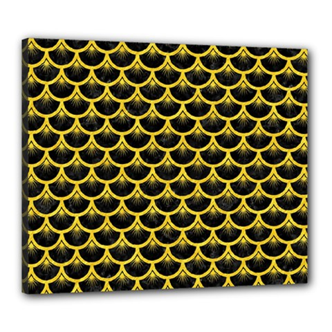 Scales3 Black Marble & Yellow Colored Pencil (r) Canvas 24  X 20