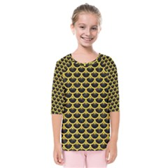Scales3 Black Marble & Yellow Colored Pencil (r) Kids  Quarter Sleeve Raglan Tee