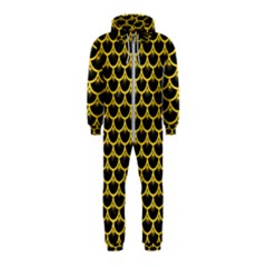 Scales3 Black Marble & Yellow Colored Pencil (r) Hooded Jumpsuit (kids)
