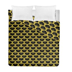 Scales3 Black Marble & Yellow Colored Pencil (r) Duvet Cover Double Side (full/ Double Size)