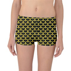 Scales3 Black Marble & Yellow Colored Pencil (r) Reversible Boyleg Bikini Bottoms