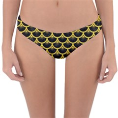 Scales3 Black Marble & Yellow Colored Pencil (r) Reversible Hipster Bikini Bottoms