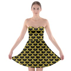 Scales3 Black Marble & Yellow Colored Pencil (r) Strapless Bra Top Dress