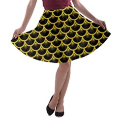 Scales3 Black Marble & Yellow Colored Pencil (r) A Line Skater Skirt