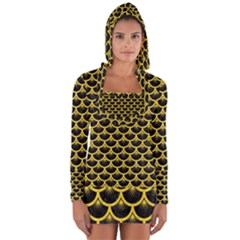 Scales3 Black Marble & Yellow Colored Pencil (r) Long Sleeve Hooded T Shirt