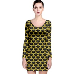 Scales3 Black Marble & Yellow Colored Pencil (r) Long Sleeve Velvet Bodycon Dress