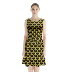 Scales3 Black Marble & Yellow Colored Pencil (r) Sleeveless Waist Tie Chiffon Dress