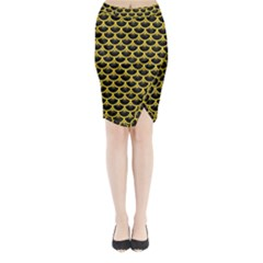 Scales3 Black Marble & Yellow Colored Pencil (r) Midi Wrap Pencil Skirt