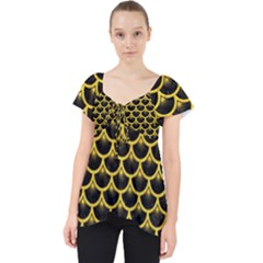Scales3 Black Marble & Yellow Colored Pencil (r) Lace Front Dolly Top