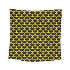 Scales3 Black Marble & Yellow Colored Pencil (r) Square Tapestry (small)