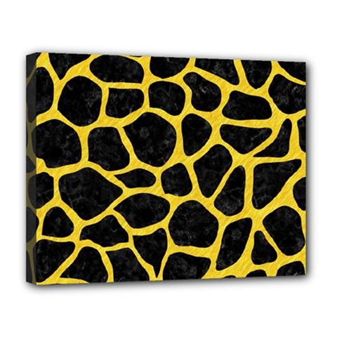 Skin1 Black Marble & Yellow Colored Pencil Canvas 14  X 11