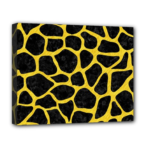 Skin1 Black Marble & Yellow Colored Pencil Deluxe Canvas 20  X 16