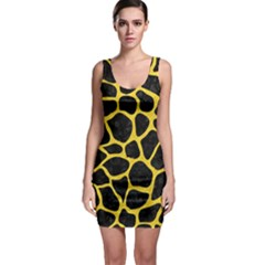 Skin1 Black Marble & Yellow Colored Pencil Bodycon Dress