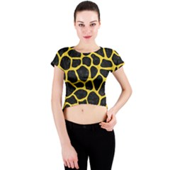 Skin1 Black Marble & Yellow Colored Pencil Crew Neck Crop Top
