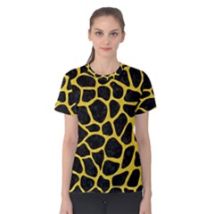Skin1 Black Marble & Yellow Colored Pencil Women s Cotton Tee