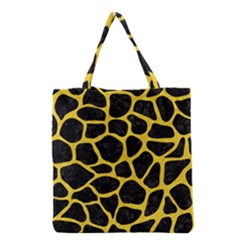 Skin1 Black Marble & Yellow Colored Pencil Grocery Tote Bag
