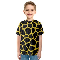 Skin1 Black Marble & Yellow Colored Pencil Kids  Sport Mesh Tee