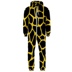 Skin1 Black Marble & Yellow Colored Pencil Hooded Jumpsuit (men)