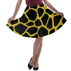 Skin1 Black Marble & Yellow Colored Pencil A Line Skater Skirt
