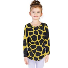 Skin1 Black Marble & Yellow Colored Pencil Kids  Long Sleeve Tee
